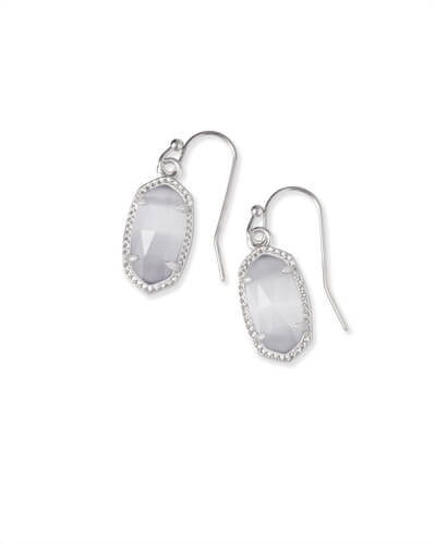 Lee Silver Drop Earrings in Slate Cats Eye