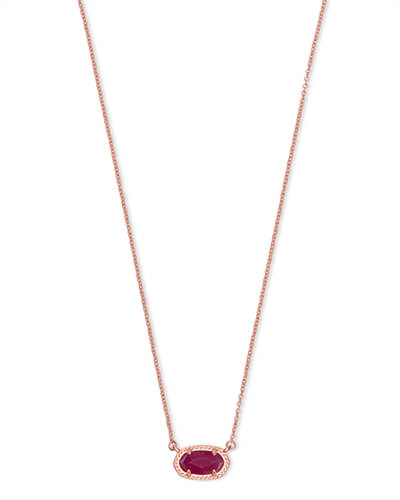 Ember Rose Gold Pendant Necklace in Maroon Jade