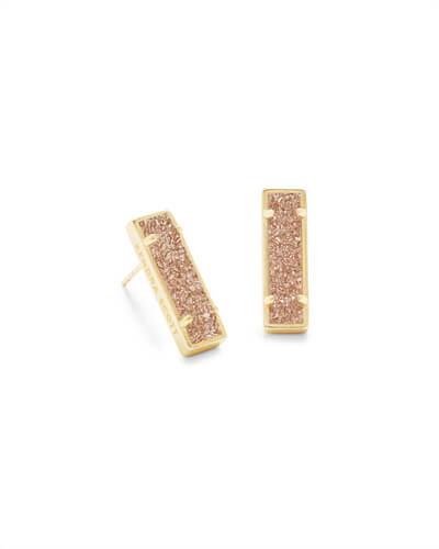 Lady Gold Stud Earrings Sand Drusy