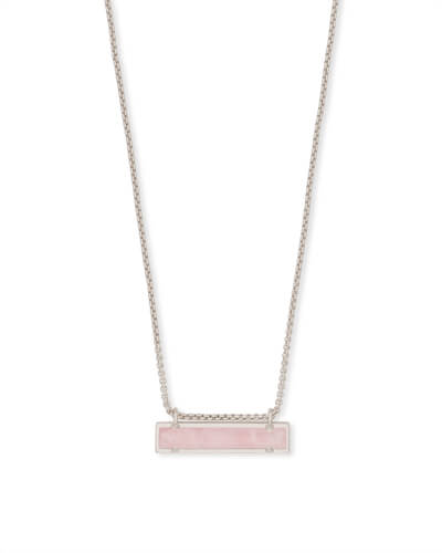 Leanor Silver Pendant Necklace in Rose Quartz