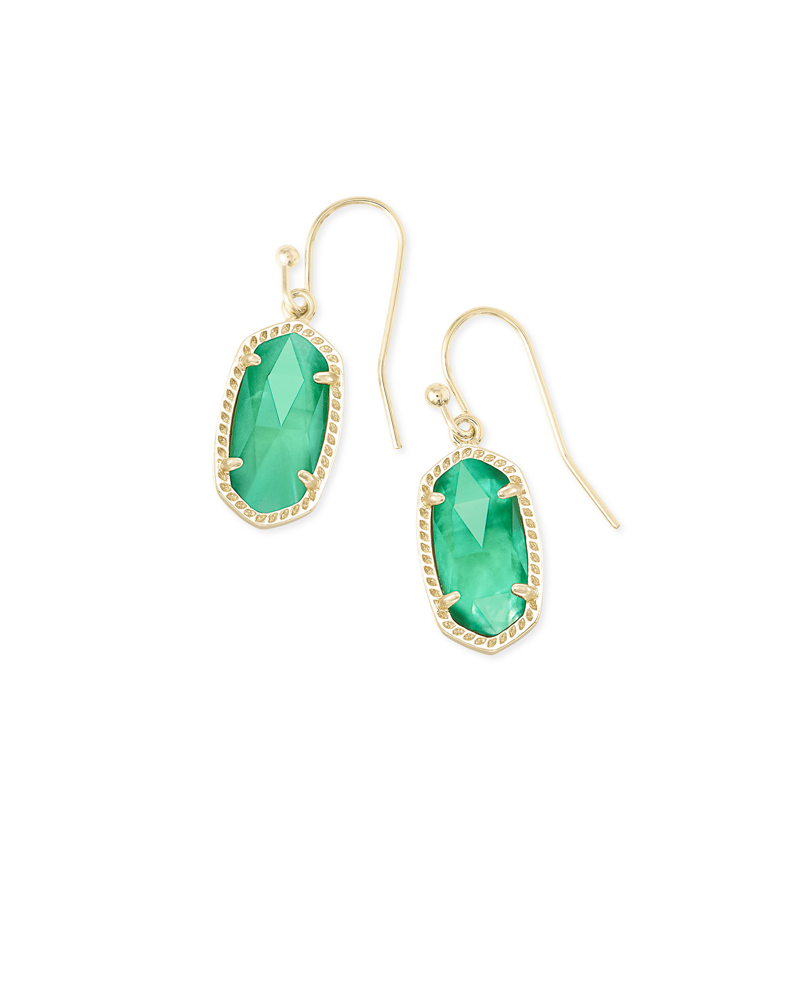 Lee Gold Drop Earrings in Jade Green Illusion