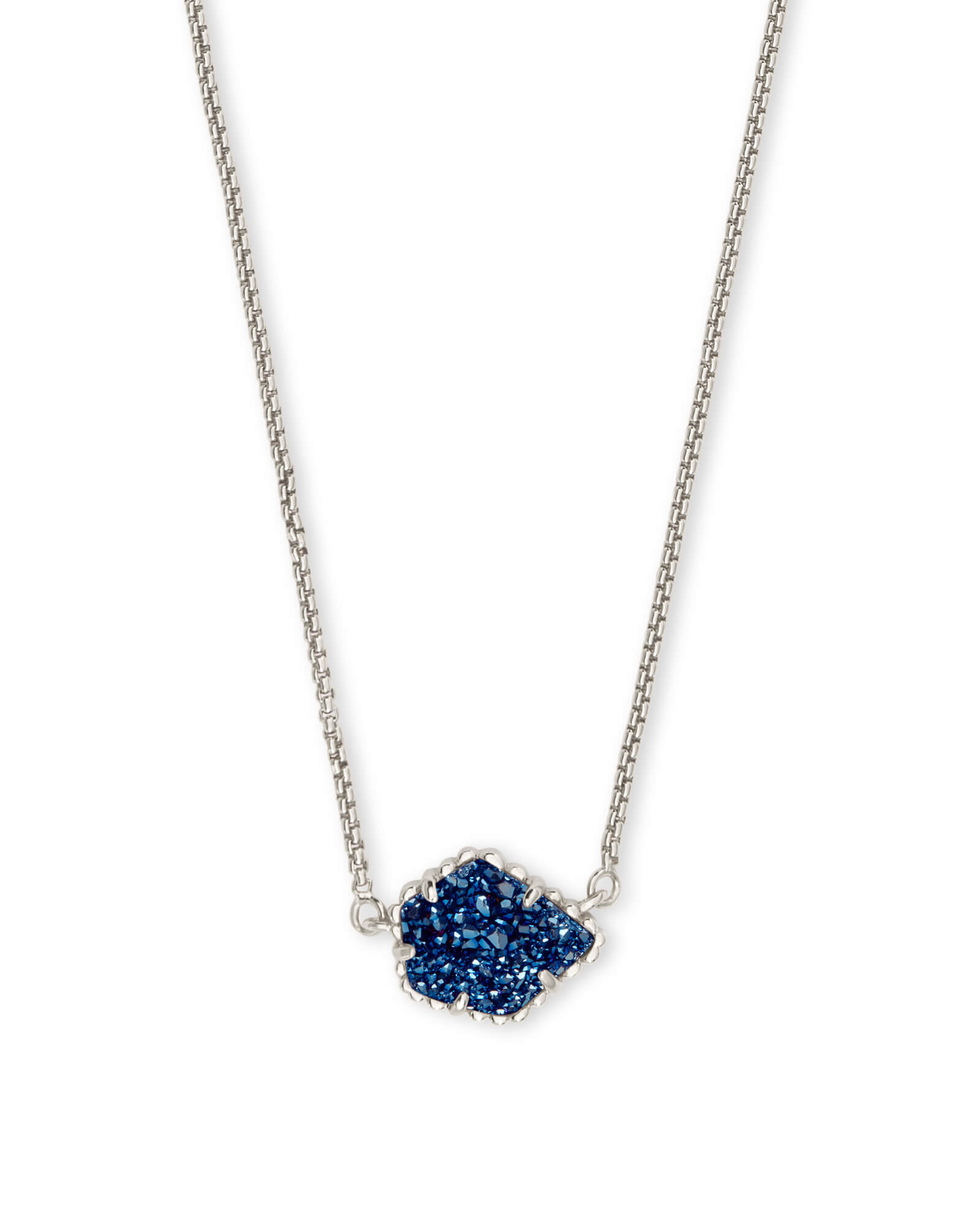 Tess Silver Pendant Necklace in Blue Drusy
