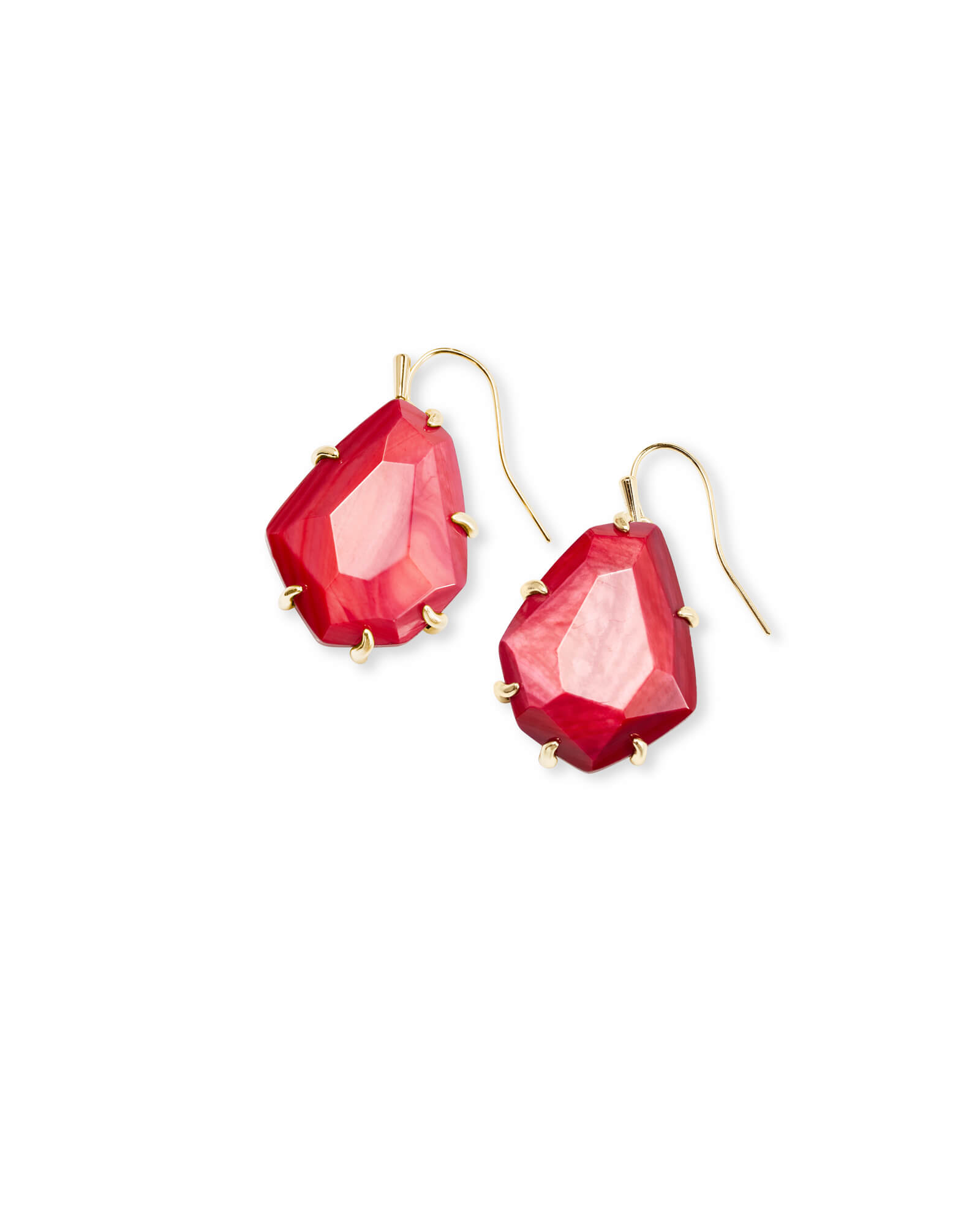 Rosenell Gold Drop Earrings In Red Mother of Pearl