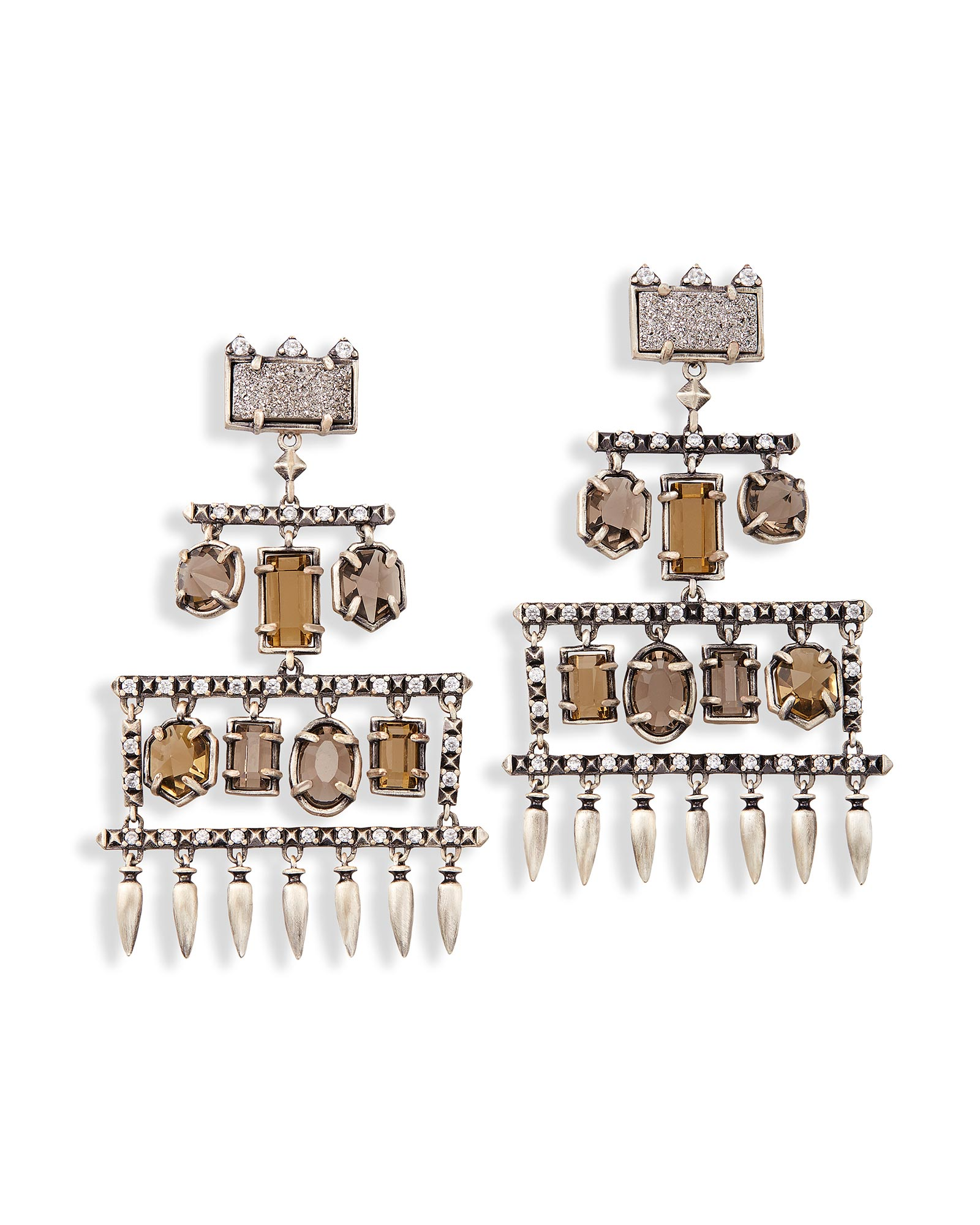 Emmylou silver statement chandelier earrings kendra scott emmylou statement earrings in antique silver arubaitofo Images