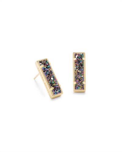 Lady Gold Stud Earrings in Multicolor Drusy