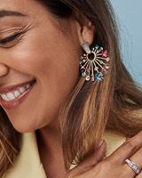 Fabia Small Gold Statement Earrings in Multi Mix