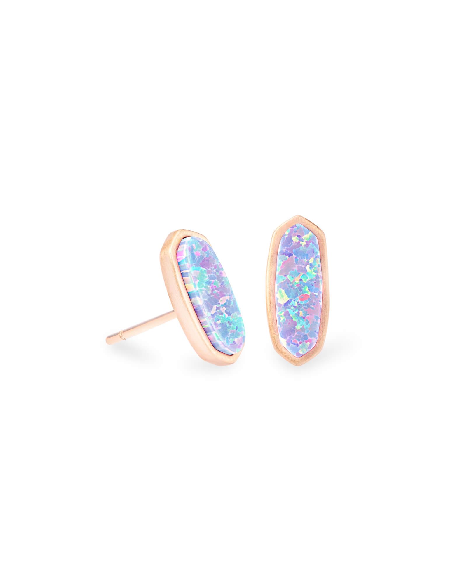 5cff335c8 Mae Rose Gold Stud Earrings in Lavender Kyocera Opal | Kendra Scott