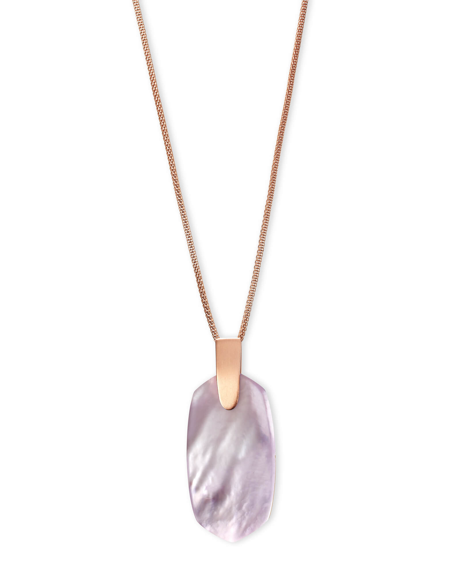 Inez Rose Gold Long Pendant Necklace In Lilac Mother Of Pearl by Kendra Scott