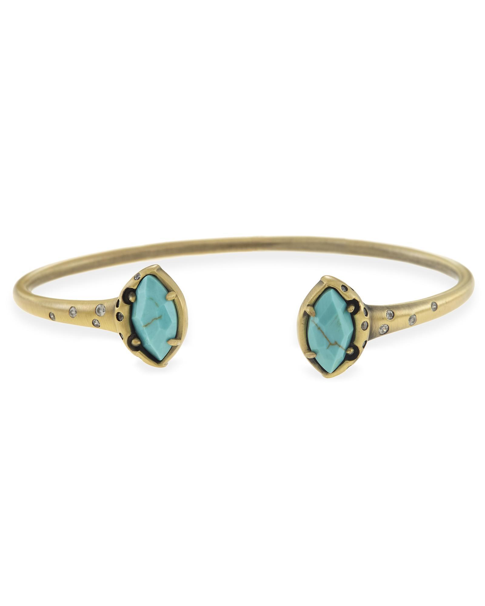 Laura Pinch Cuff Bracelet in Variegated Turquoise