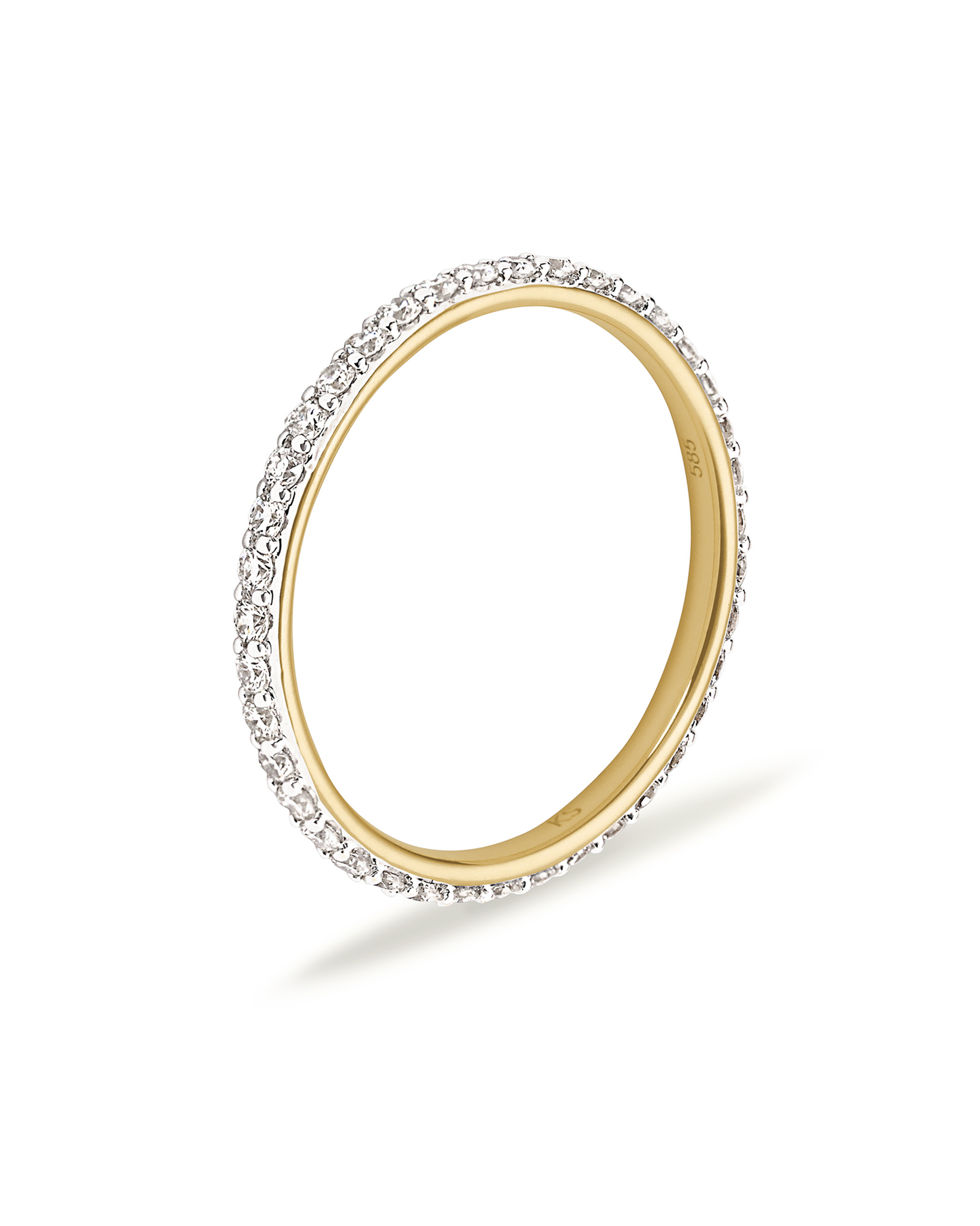 Marilyn 14K Yellow Gold Band Ring in White Diamond