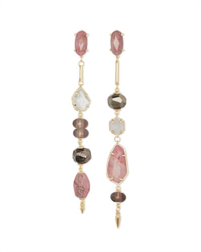 Cosette Gold Statement Earrings in Pink Mix