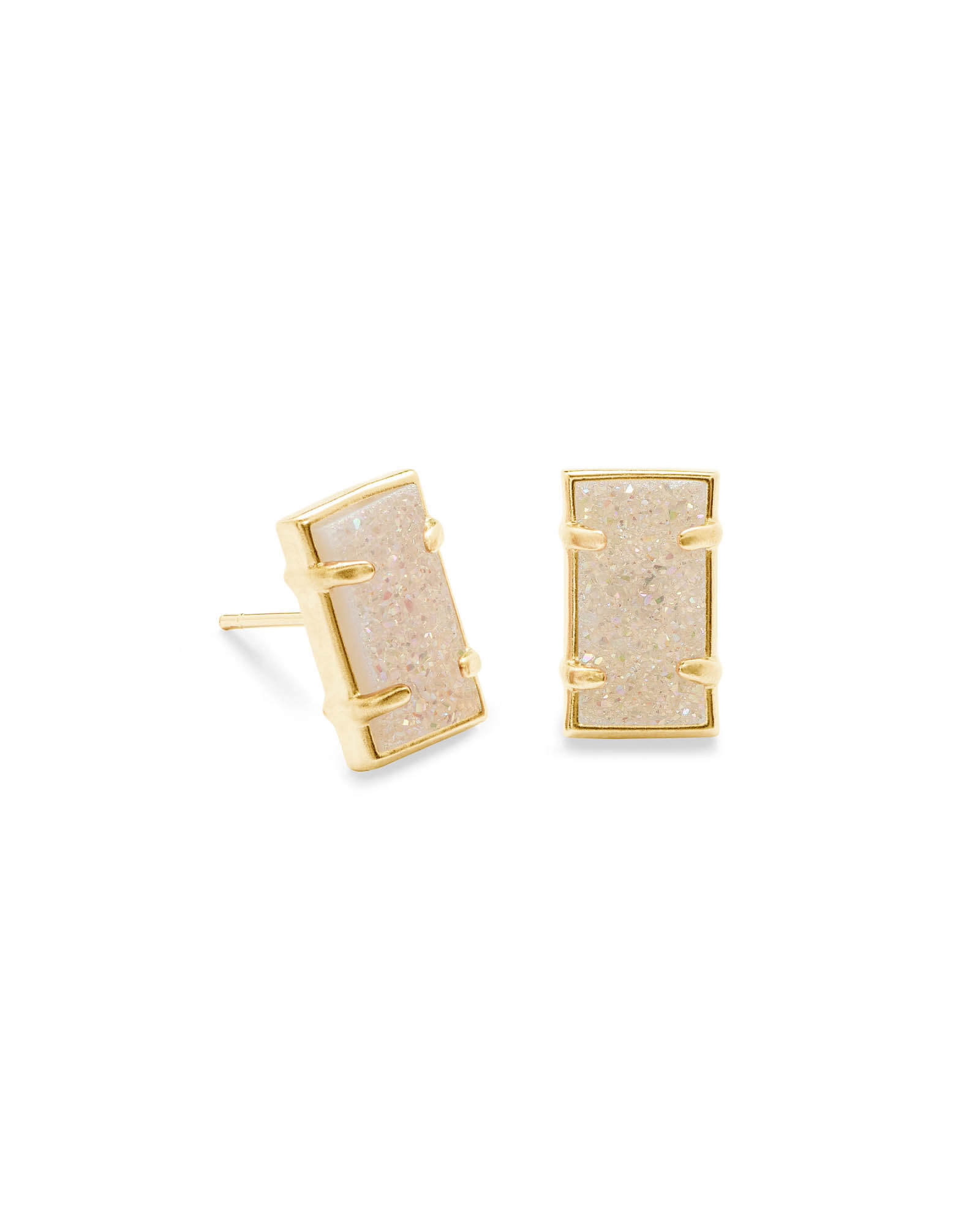 Paola Gold Stud Earrings in Iridescent Drusy