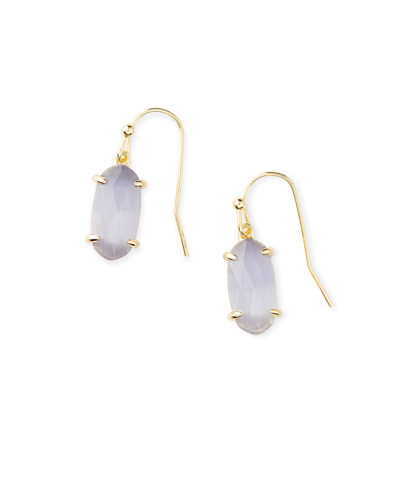 Lemmi Gold Drop Earrings in Slate Cat's Eye