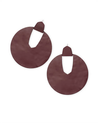 Diane Matte Statement Earrings in Maroon