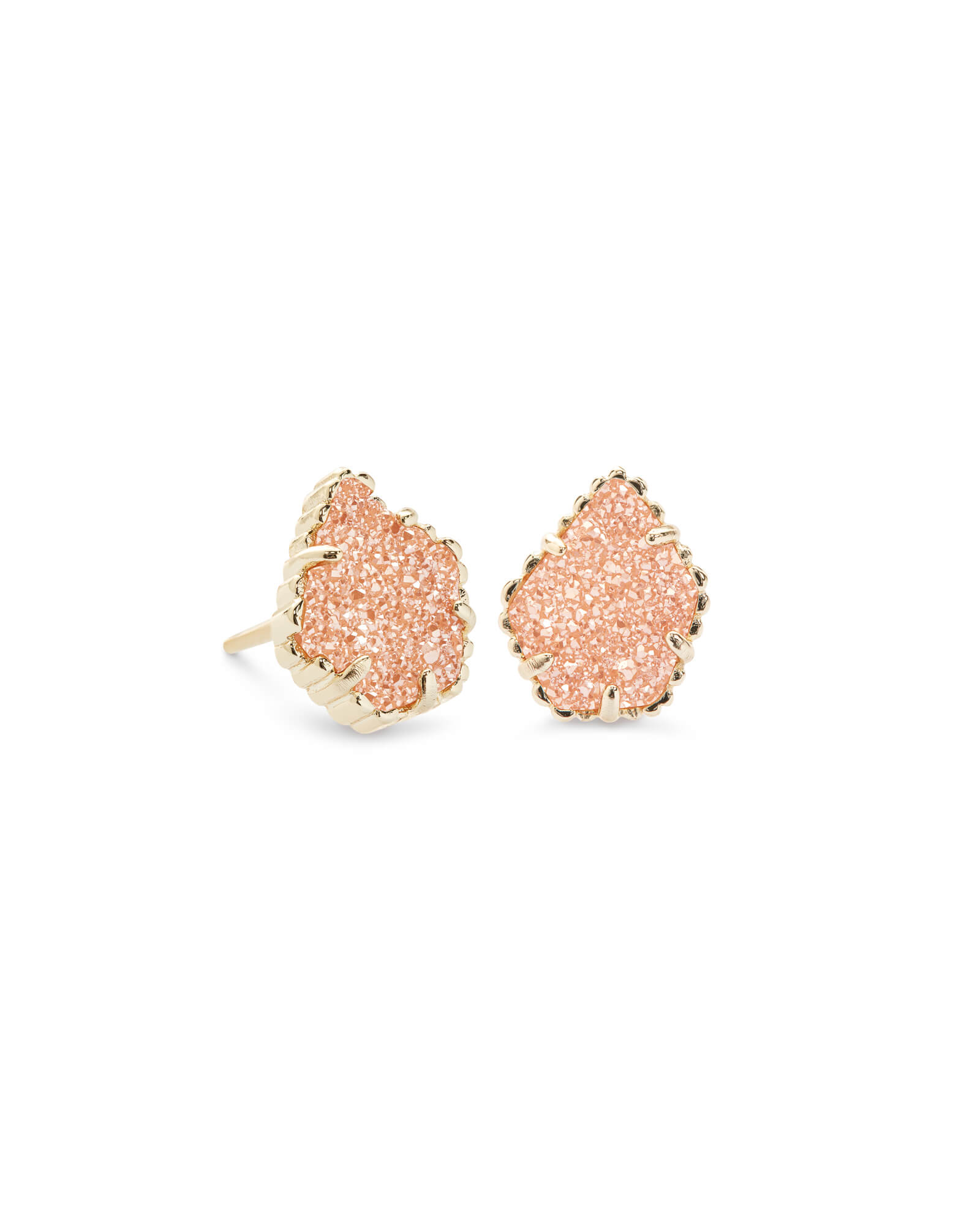 Tessa Gold Stud Earrings In Sand Drusy