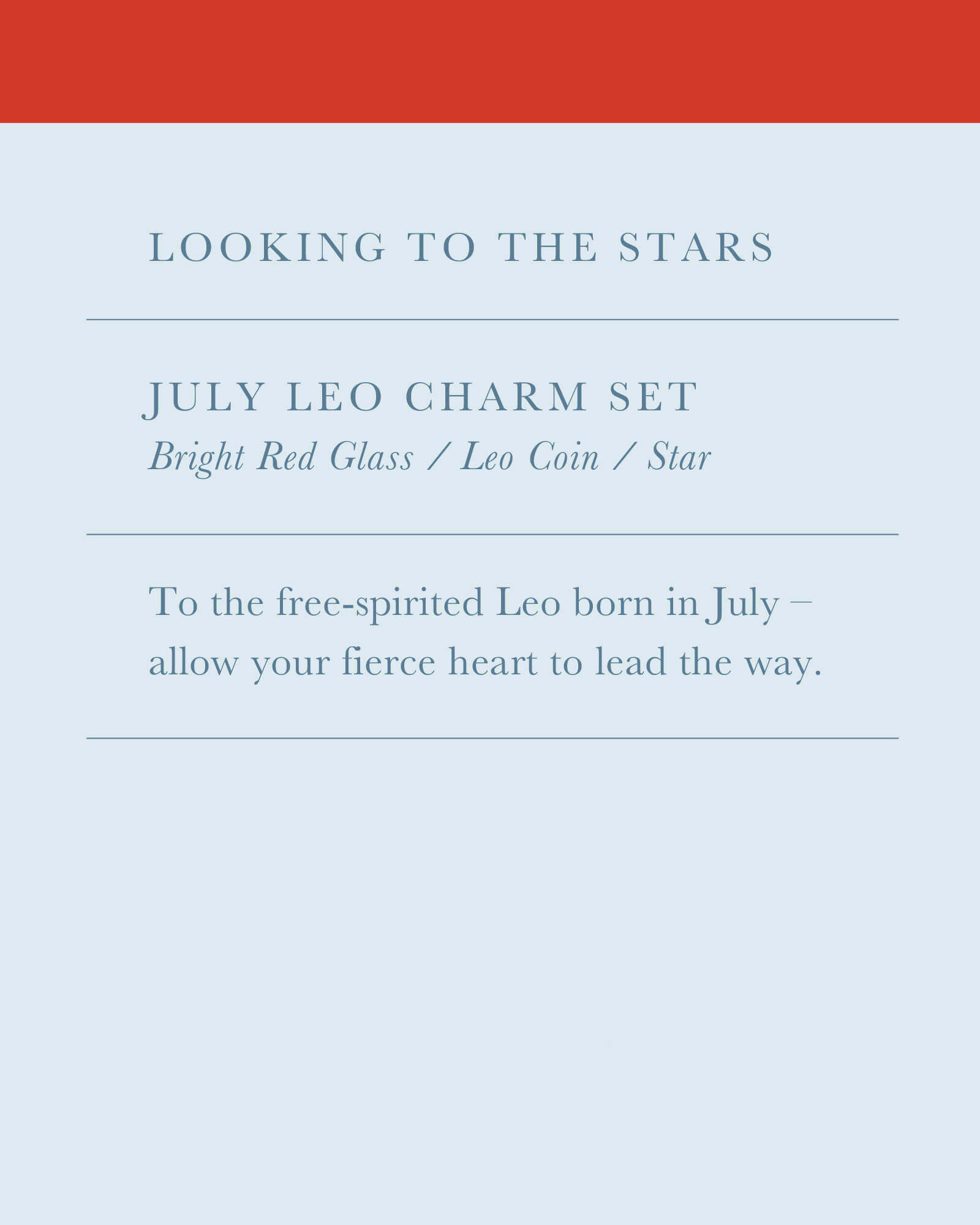 July Leo Charm Necklace Set in Gold