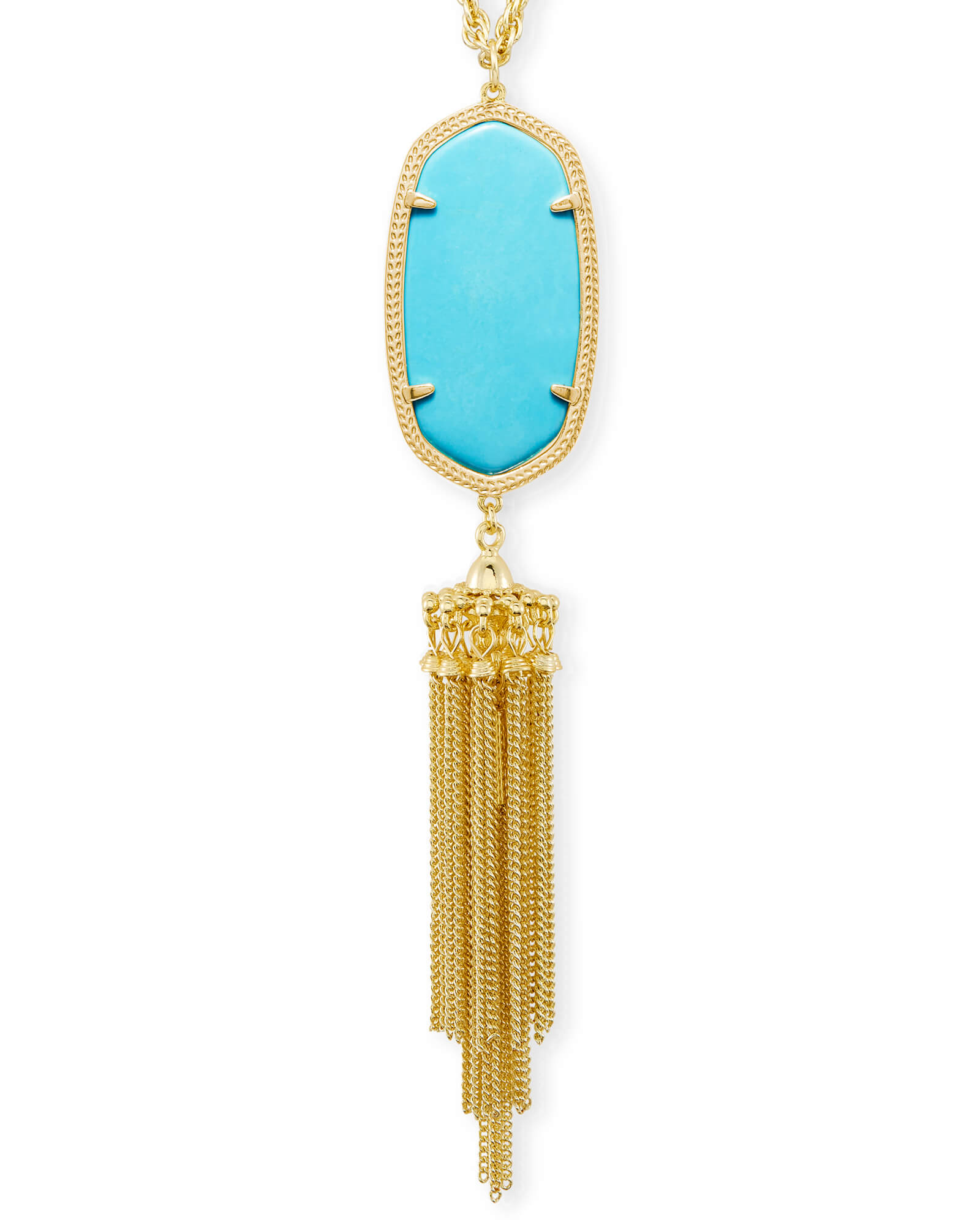 Rayne Gold Long Pendant Necklace in Turquoise Kendra Scott