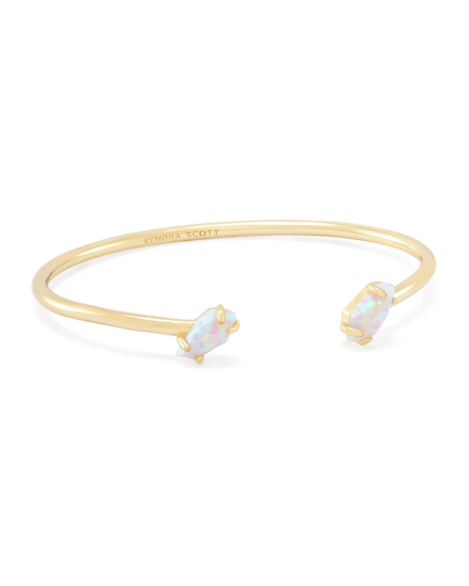 Jackson Pinch Bracelet In White Kyocera Opal
