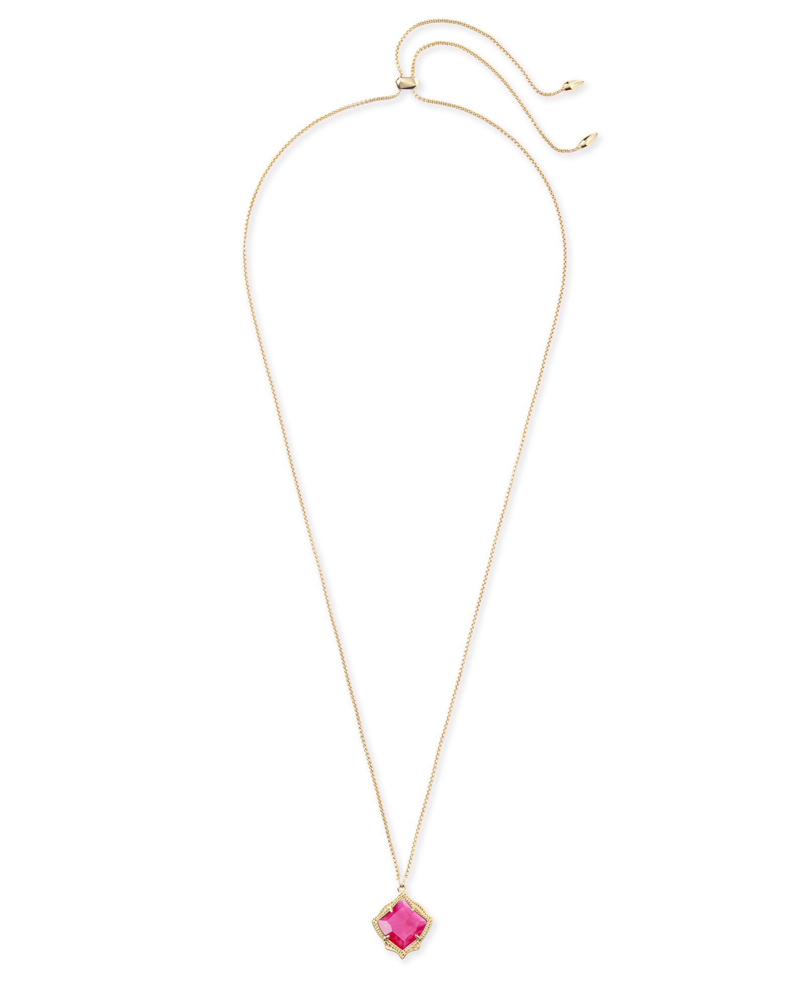 Kacey Gold Long Pendant Necklace in Azalea Illusion