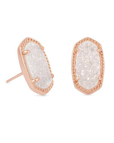 Ellie Rose Gold Stud Earrings in Iridescent Drusy