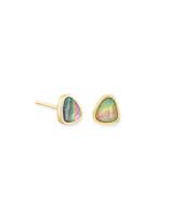 Ivy Gold Stud Earrings in Lilac Abalone