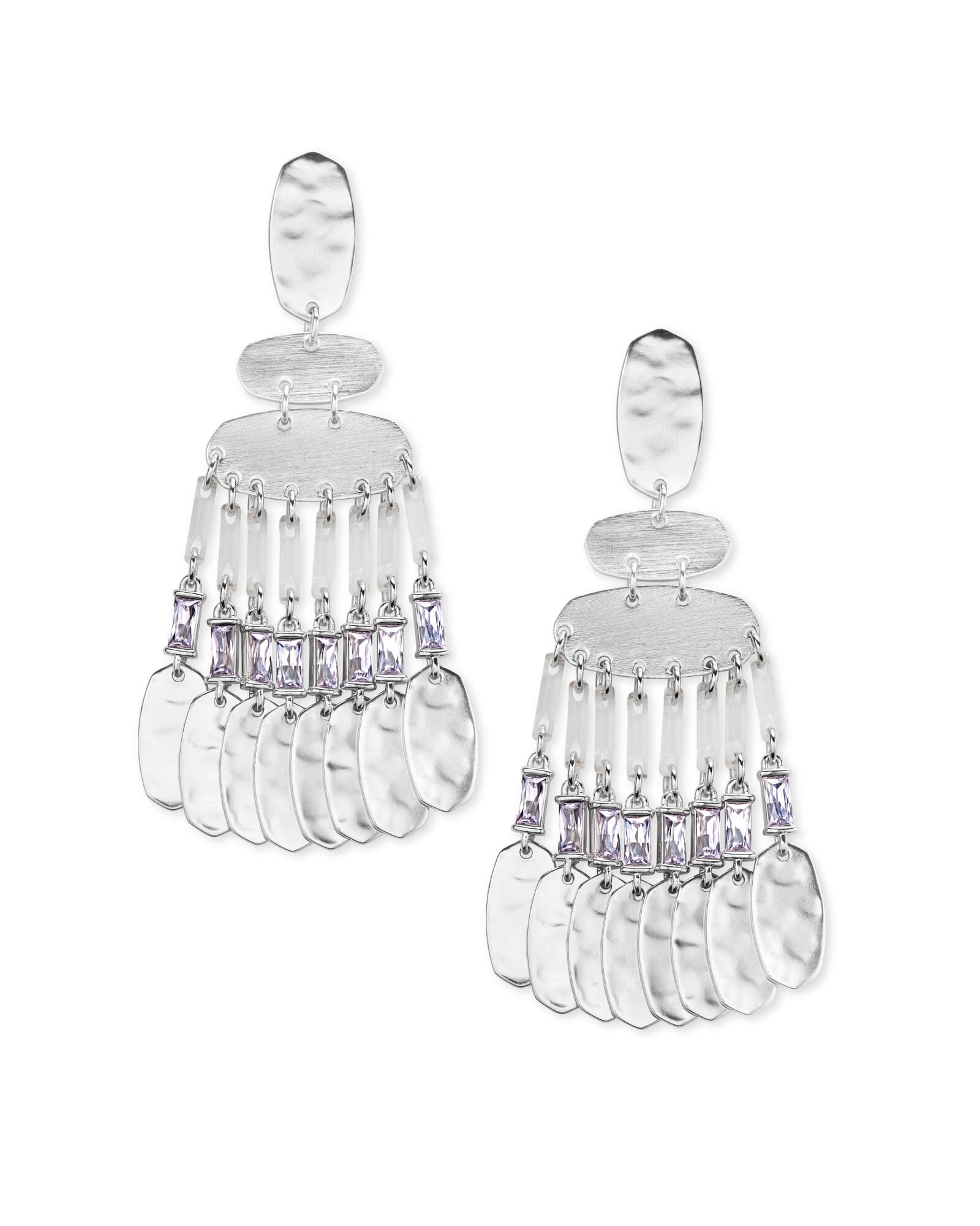 Oster Silver Statement Earrings in Lilac Crystal