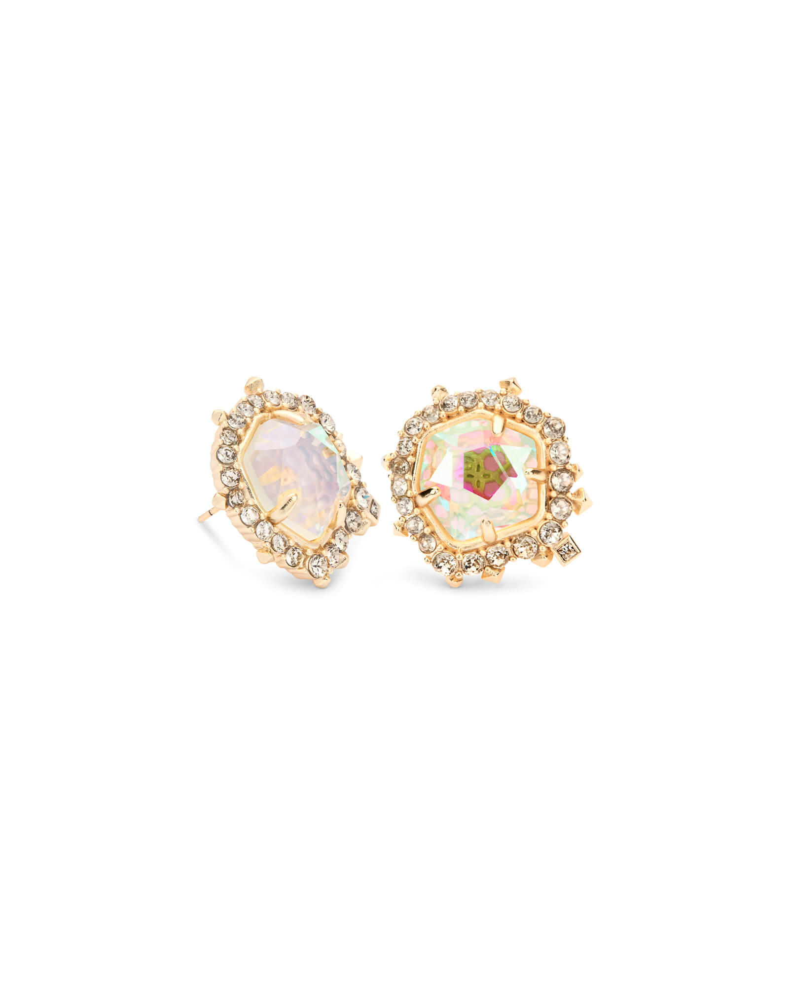 Abelia Gold Stud Earrings in Dichroic Glass