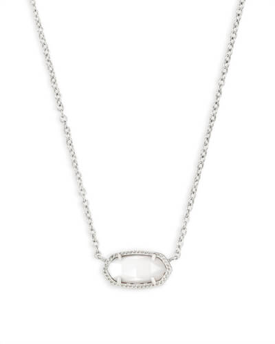 Elisa Silver Pendant Necklace in White Pearl