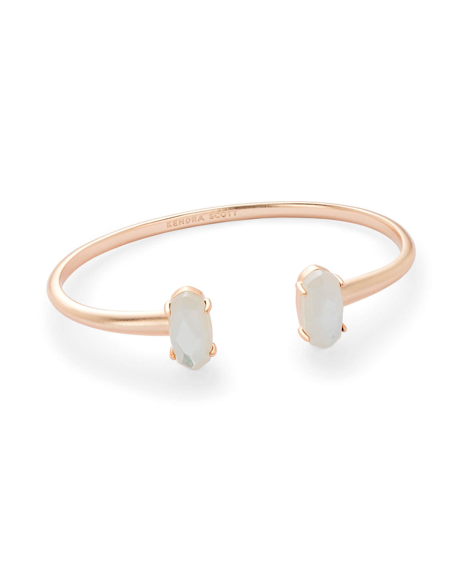 E Rose Gold Cuff Bracelet In Ivory Pearl