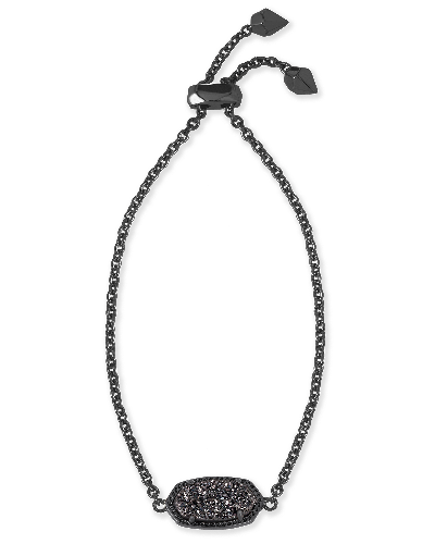 Elaina Adjustable Chain Bracelet in Black Drusy