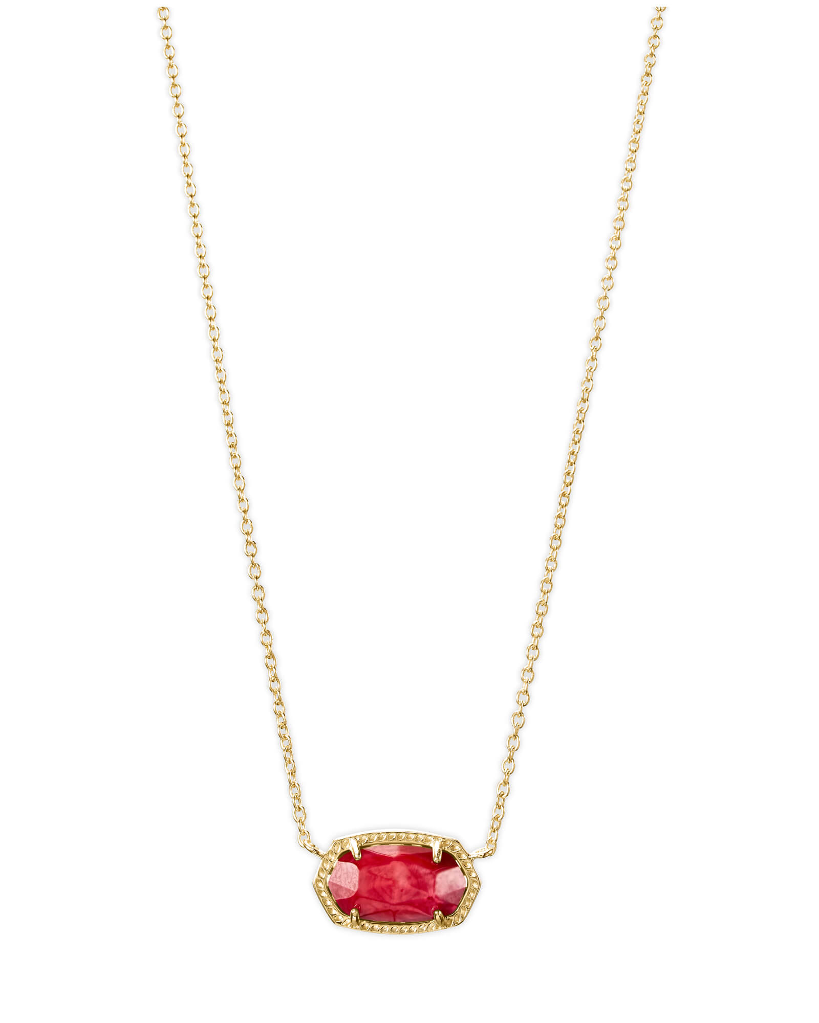 Elisa Gold Pendant Necklace in Red Mother of Pearl
