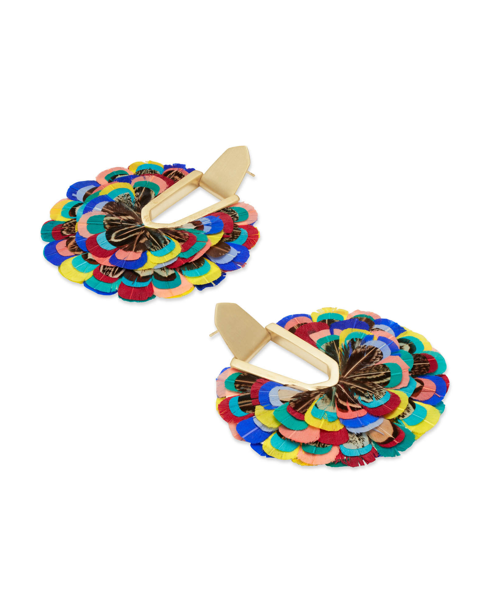 Diane Gold Statement Earrings in Multi Color Feathers