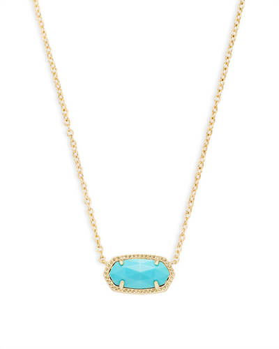Elisa Gold Pendant Necklace in Turquoise