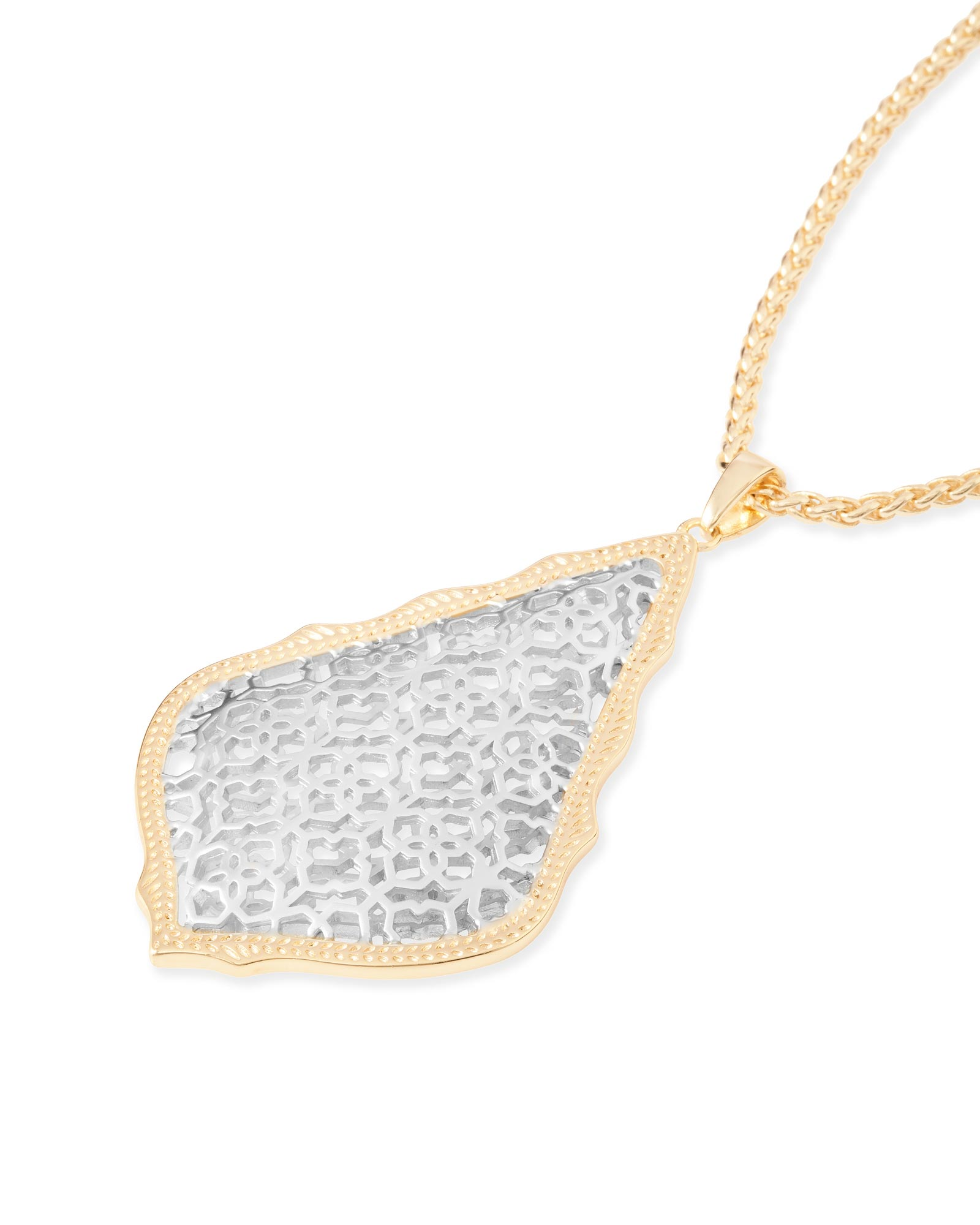 Aiden Gold Long Pendant Necklace in Silver Filigree