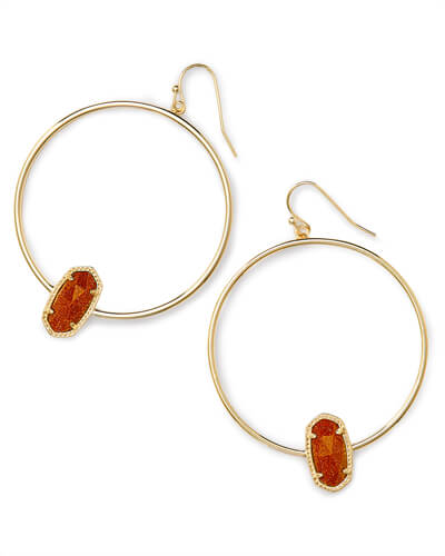 Elora Gold Hoop Earring In Goldstone