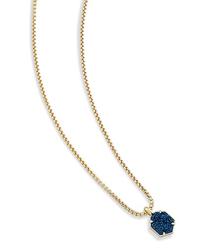 Teo Long Pendant Necklace in Blue Drusy