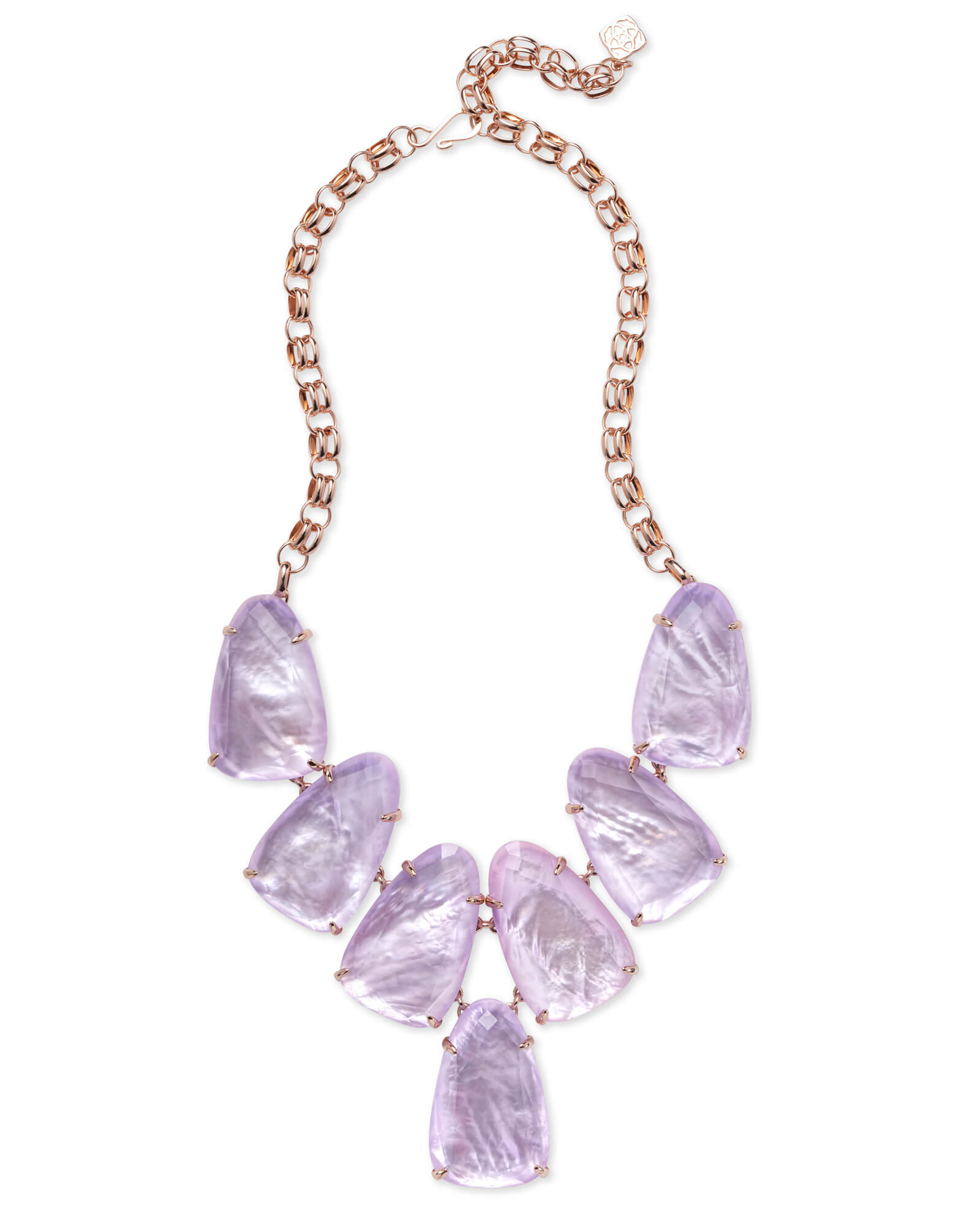 Harlow Rose Gold Statement Necklace in Lilac Mother-of-Pearl
