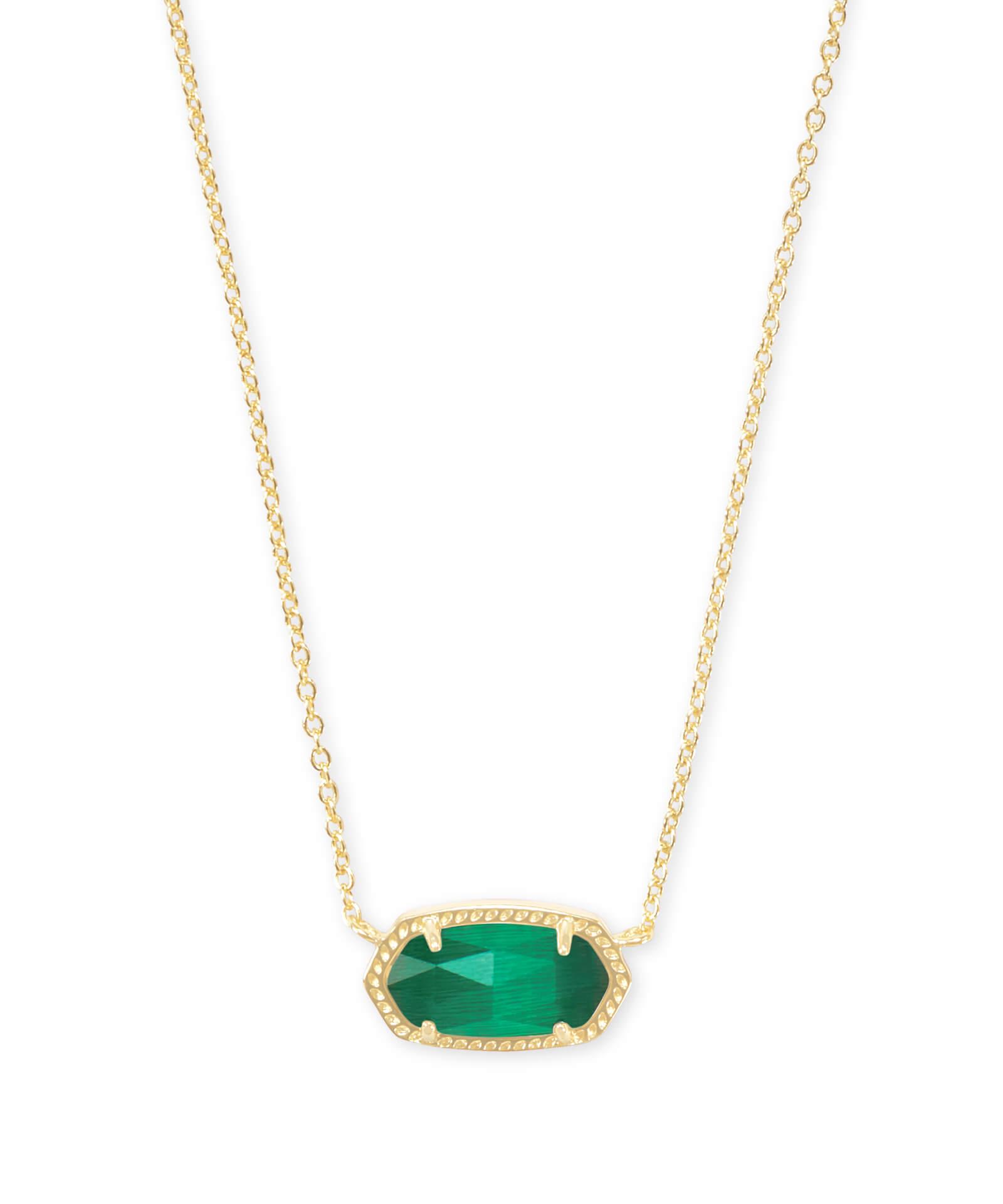 fe155404a125a Elisa Gold Pendant Necklace in Emerald Cat's Eye   Kendra Scott