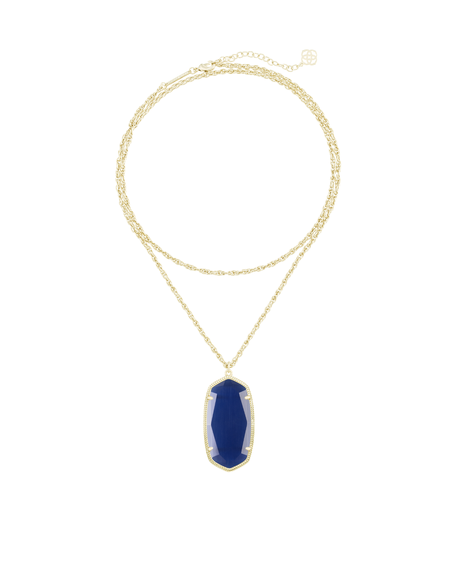 Rae gold long pedant necklace in navy kendra scott rae gold necklace in navy cats eye mozeypictures Images