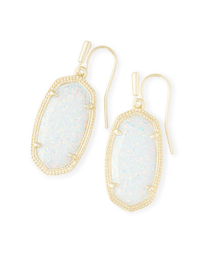 Dani Gold Drop Earrings in White Kyocera Opal