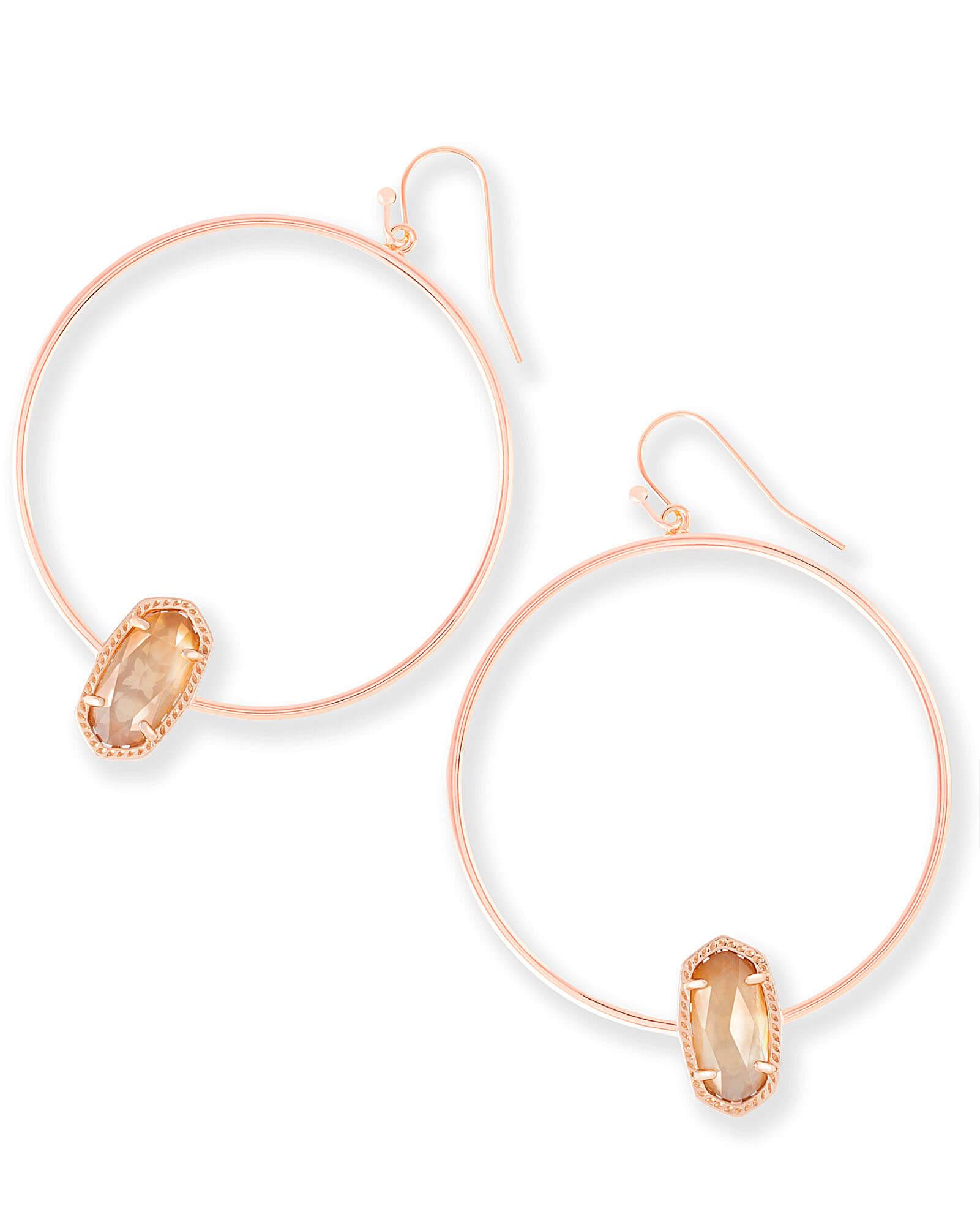 Elora Rose Gold Hoop Earrings Brown Pearl  15cd49b892fb