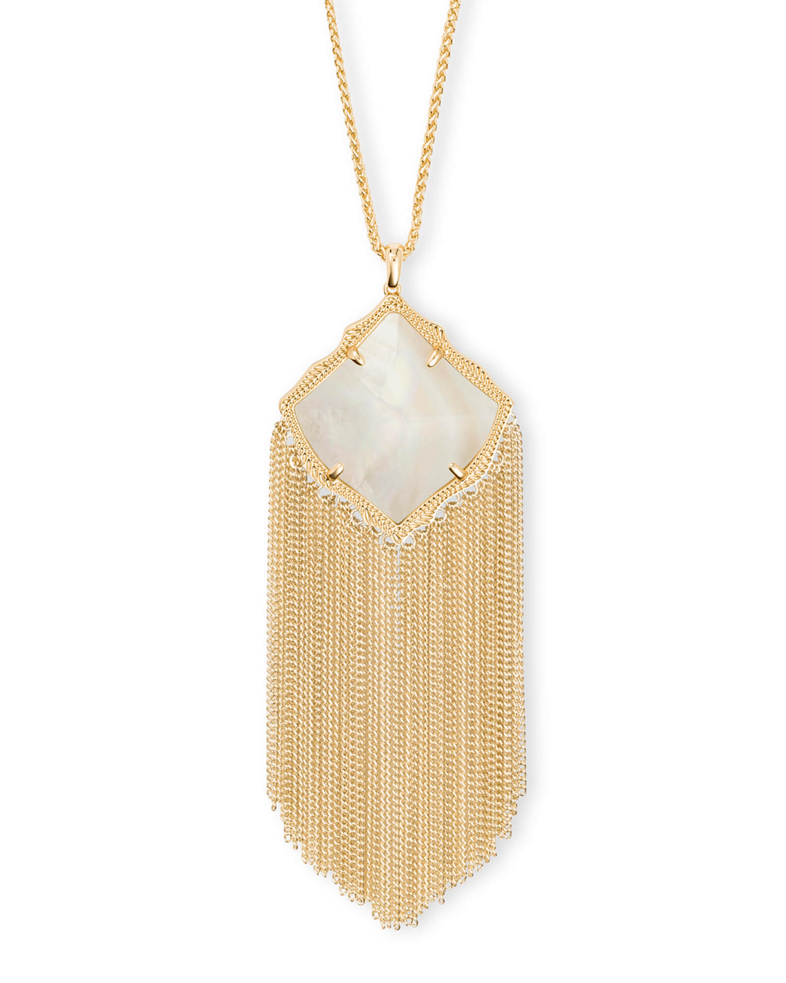 Kingston Gold Long Pendant Necklace in White Pearl