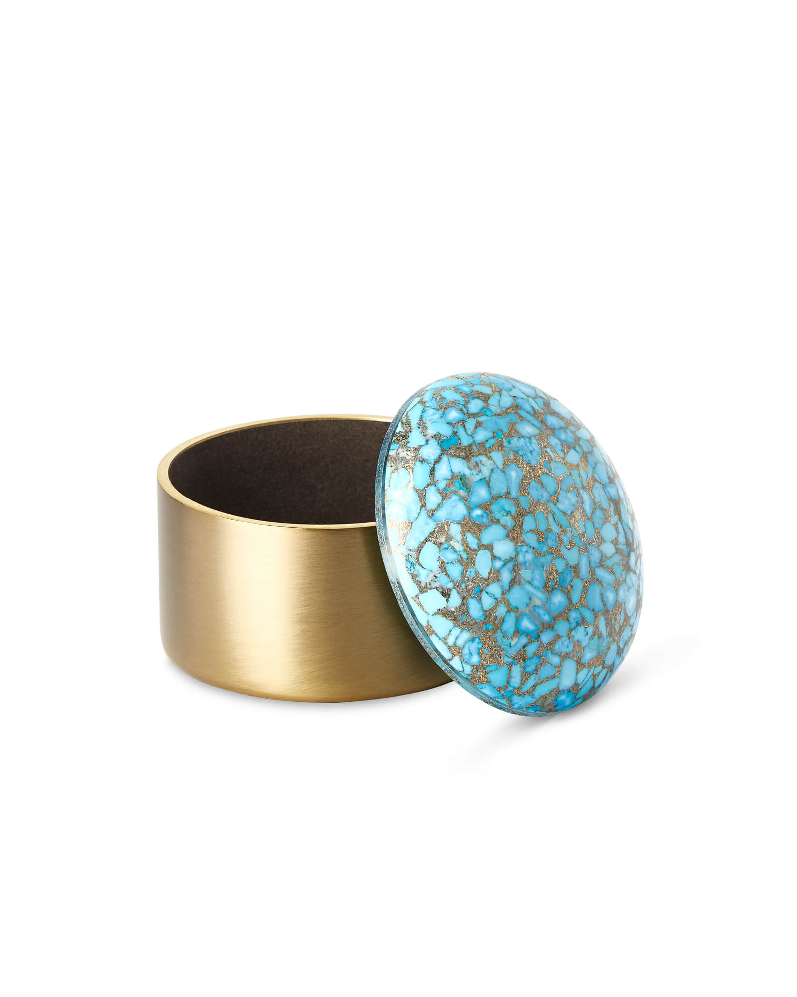 Mini Decorative Brass Dome Box in Bronze Veined Turquoise