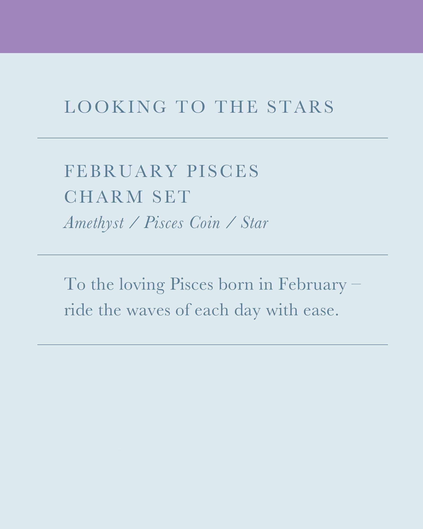 February Pisces Charm Necklace Set