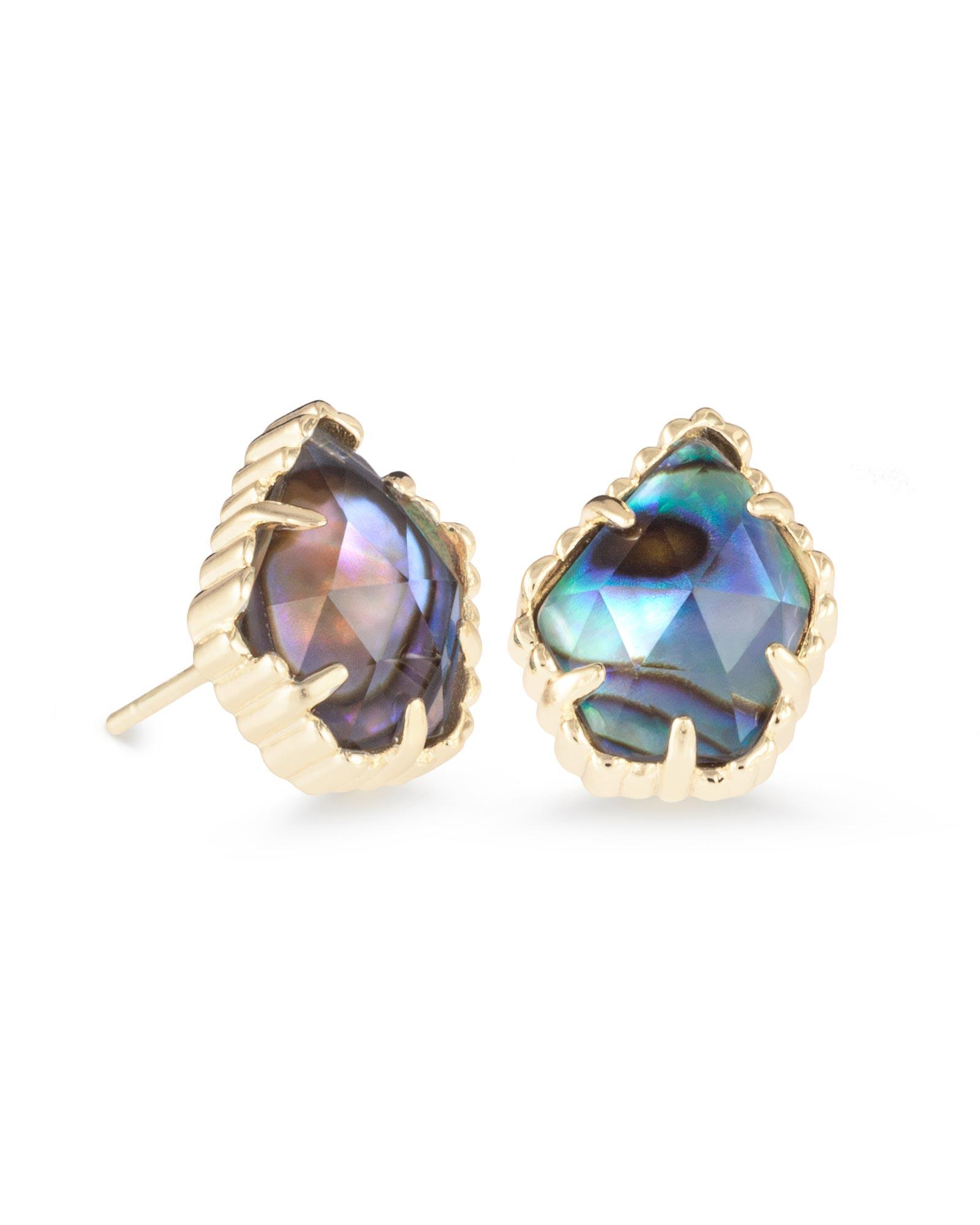 Tessa Stud Gold Earrings in Abalone Shell   Kendra Scott