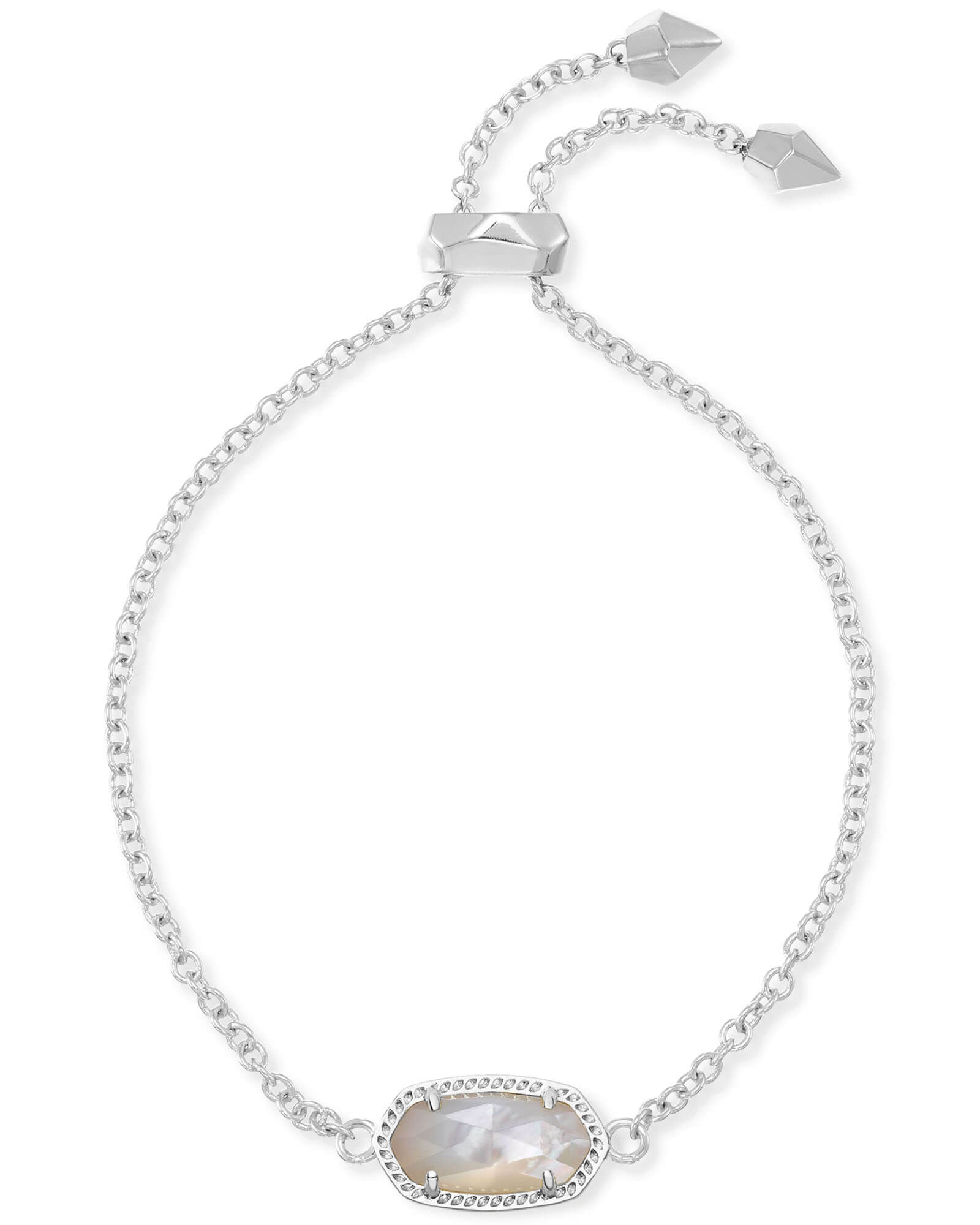 Elaina Silver Adjustable Chain Bracelet in Ivory Pearl