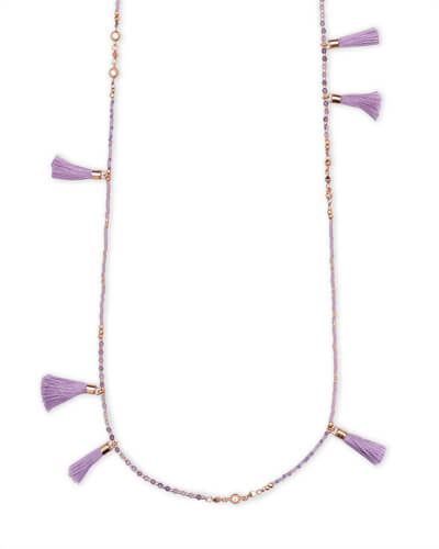 Augusta Rose Gold Long Necklace In Lilac Mother of Pearl Mix