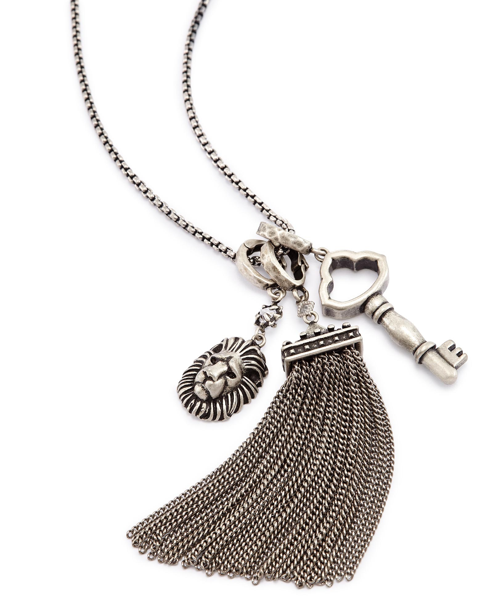Zosia Long Pendant Necklace in Antique Silver