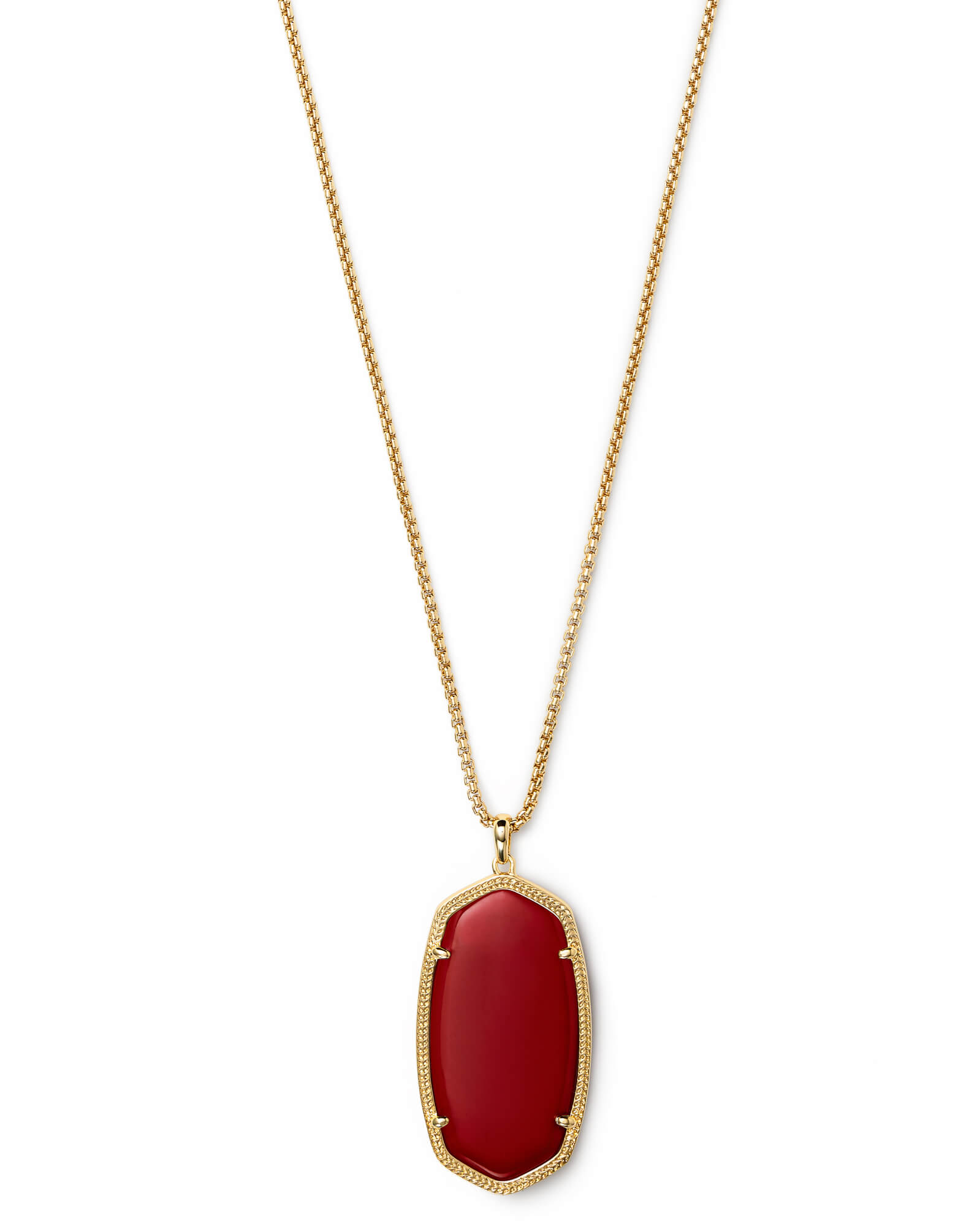Reid Gold Long Pendant Necklace in Dark Red