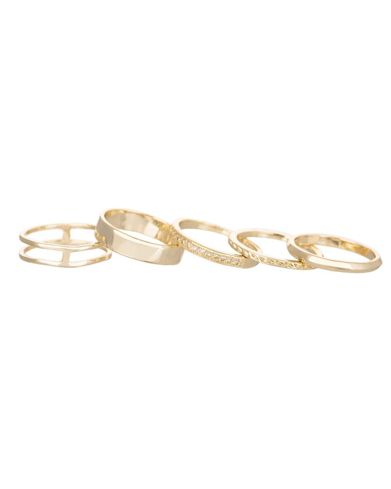 Kara Midi Ring Set in Gold
